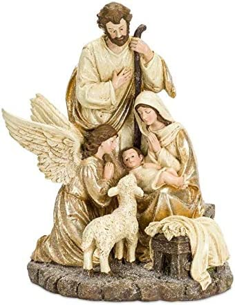 Diva At Home 15 Gold and Brown Antique Holy Family with Angel and Lamb Figurine