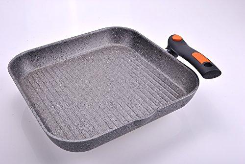 ALLUFLON Pratica Stone - Sartén con Grill de Aluminio (28 cm), Color Gris: Amazon.es: Hogar