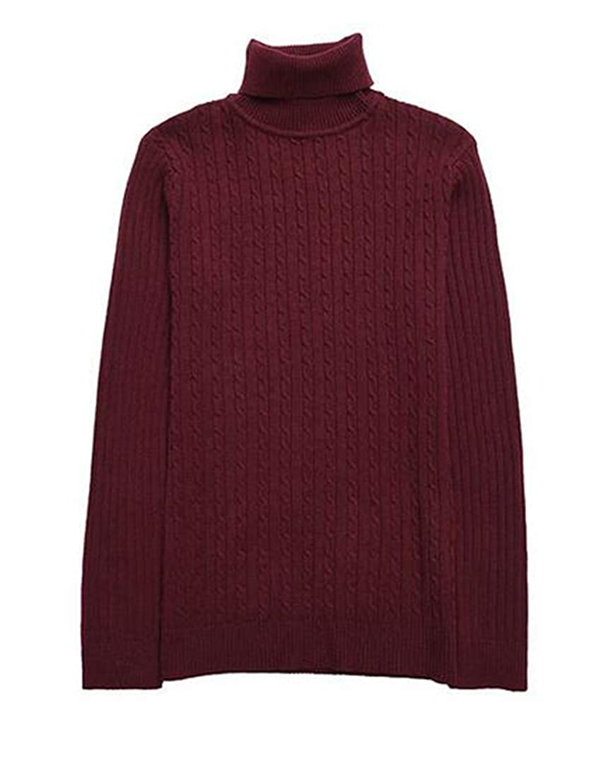 Sweatwater Mens Casual Turtleneck Jacquard Pullover Slim Knitted Jumper Sweaters