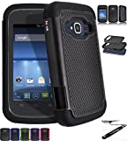 [ ZTE Concord II 2 / Z730 ] ToPerk (TM) Cyber Grid Armor Case & Stylus Pen As Bundle Sale - Black