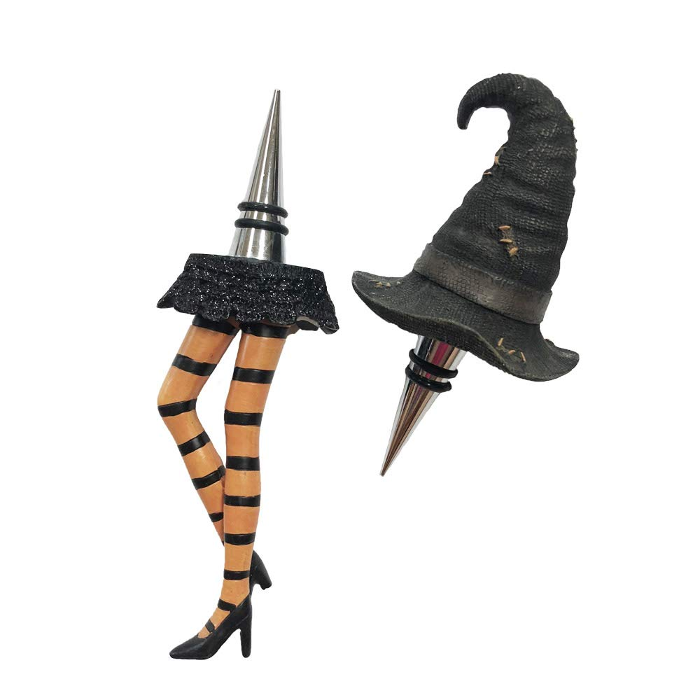 Halloween Witch Wine and Beverage Bottle Stopper Set Black Witch Hat and Legs