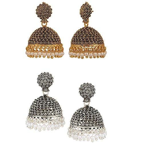 Efulgenz Indian Vintage Bollywood Gypsy Oxidized Gold Plated Traditional Jhumka Jhumki Earrings for Women and Girls (White+Yellow) by Efulgenz (Image #3)