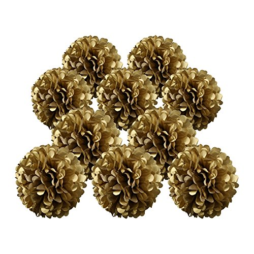 m poms flower ball decorations kit (8 Inch, 10 Inch, 10 pcs) (Cream Background Gold Trim)