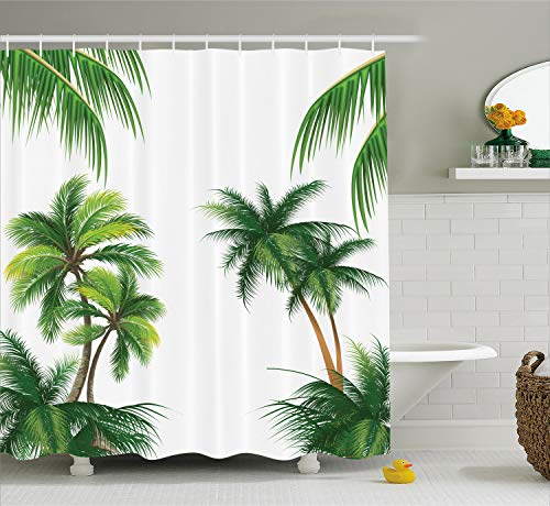 (Ambesonne Tropical Shower Curtain, Coconut Palm Tree Nature Paradise Plants Foliage Leaves Digital Illustration, Fabric Bathroom Decor Set with Hooks, 70 Inches, Hunter)