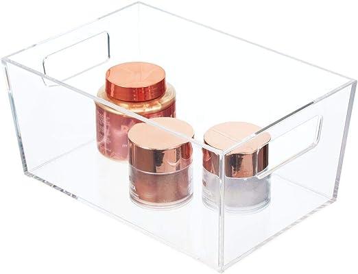 mDesign Caja de plástico con asas para productos de belleza ...