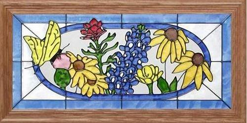 """Yellow Butterfly & Texas Wildflowers 22.5"""" Wide x 11.5"""" High Hand Painted Art Glass Panel"""
