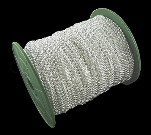 CleverDelights Ball Chain Spool - 330 Feet - Shiny Silver Color - 2.4mm Ball - #3 Size - Bulk Chain Roll (3 Pendant Tile Light)