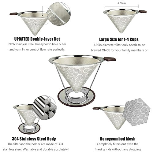 Stainless Steel Reusable Coffee Filter Pour Over Coffee Cone Dripper Permanent Honeycombed Mesh Basket 4 Cups Bonus Removable Cup Stand and Brush By Valerie by Valerie (Image #1)