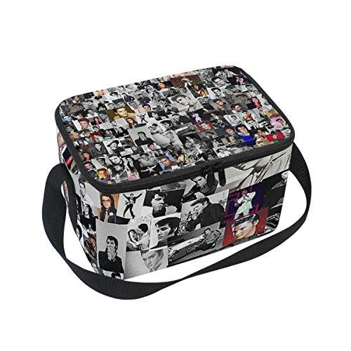 Lunch Bag Cooler Tote Bag Elvis Presley Collage Lunchbox Meal Prep Handbag for Picnic School Women Men Kids