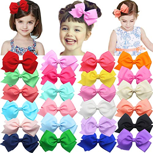 24 Colors Boutique Grosgrain Hair Bows Alligator Clips for Girls Toddlers Kids Baby Hair Accessories (Best Hair Colour For Womens)