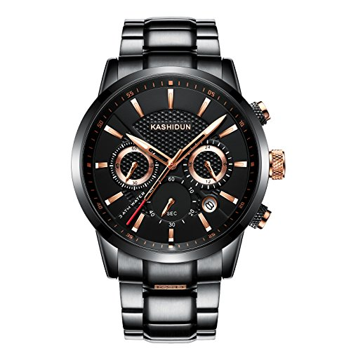 - KASHIDUN Men's Watches Luxury Sports Casual Quartz Wristwatches Waterproof Chronograph Calendar Date Stainless Steel Band Black Color