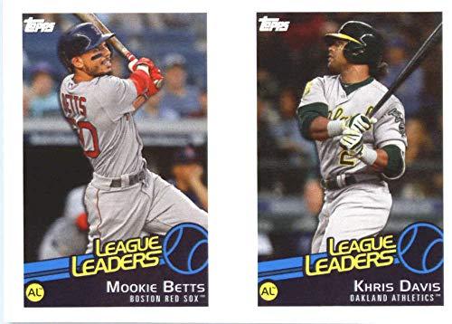 2019 Topps MLB Stickers Baseball #120/122 Khris Davis/Mookie Betts/Brad Hand Oakland Athletics/Boston Red Sox/Cleveland Indians Trading Card Sized Album Sticker with Collectible Card Back Cleveland Indians Photo Album