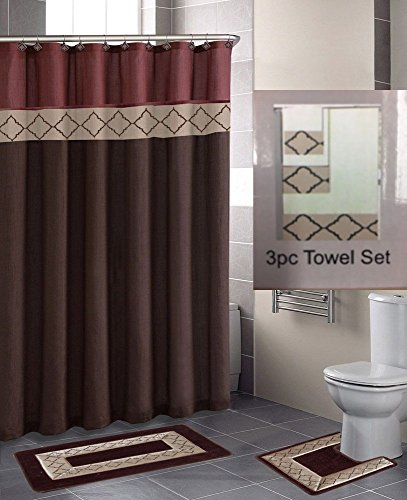 GorgeousHome 18 PC Design Pattern Bathroom Set, Includes Shower Curtain with Fabric Plastic Hooks Bath Contour Mats & Towels (BROWN DYNASTY) (Bathroom Towels And Rugs)