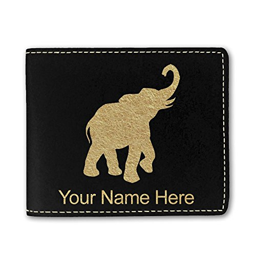 Faux Leather Wallet, Indian Elephant, Personalized Engraving Included (Black) ()