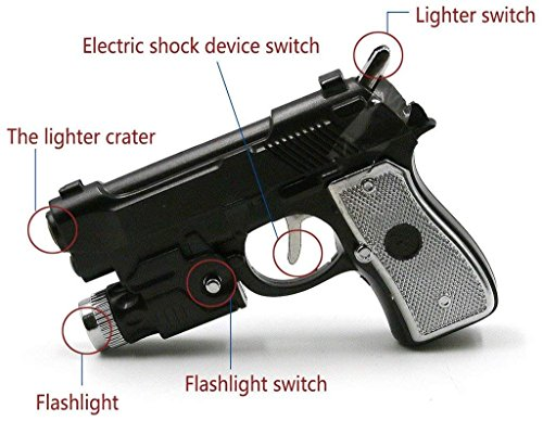 Multifunctional Tricky toys Pistol Shape Lighter with Flashlight& Electric...