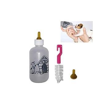 Tradeshoptraesio® - Biberón de 120 ml para cachorros de perros y gatos con doble tetina Y cepillo de limpieza: Amazon.es: Productos para mascotas