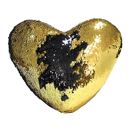 Boshen Sequin Throw Pillow Case Covers Reversible 16x14inch with Zipper Decorative Color Changing Set of 1 2 4 (Black+Gold/Heart Shaped, 1) ()