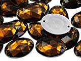 Allstarco 18x13mm Brown Smokey Topaz CH25 Flat Back Sew On Oval Beads Acrylic Rhinestones Sewing Plastic Gems with Holes for Jewelry, Clothes, Garment Embelishments, Shoes, Cosplays, Crafts 50 Pieces
