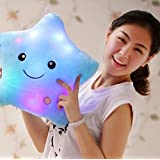 1 Pc Creative Light Up LED Star Luminous Pillow Glow Pillow Music Plush Toy Doll Baby Smile Star LED Light Lamp Throw Toss Cushion Pillow Throw Pillow Kids Toy Blue(13.8In)