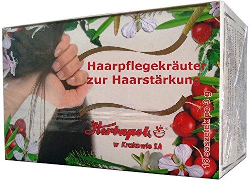 Haarpflegekräuter - Spülung zur Stärkung der Haare, gegen Haarausfall, gereizte Kopfhaut und Schuppen, 18 Kräuterbeutel x 3g