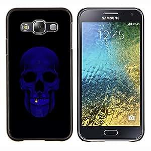 KLONGSHOP // Cubierta de piel con cierre a presión Shell trasero duro de goma Protección Caso - Cráneo Bling Purple Negro minimalista - Samsung Galaxy E5 E500 //