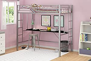 Emily Premium Twin Loft Bunk Bed With Desk, Tiny House Style, Sturdy Metal Frame and Dual Ladders, Accomodates Twin Size Mattress