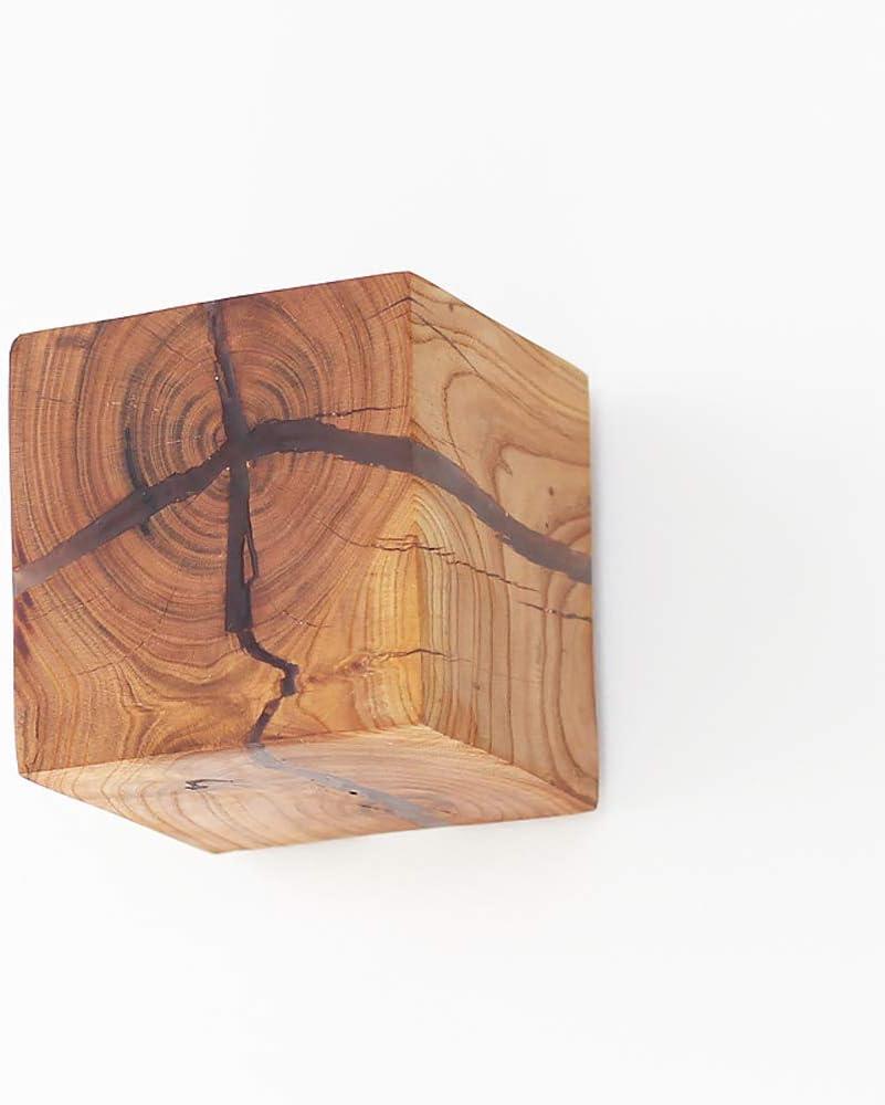 Pumpink L/ámpara de Pared de Madera Natural Agrietada Dise/ño Original Azulejo de Roble Madera de Roble Aplique de Pared Creativo Simple Decoraci/ón Cuadrada Luz de Noche Luz de Pared