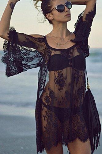 Frauen Ist Sommer, 3 / 4 - Ärmel Riemen Spitzen Beachwear Bikini Vertuschen Black XL