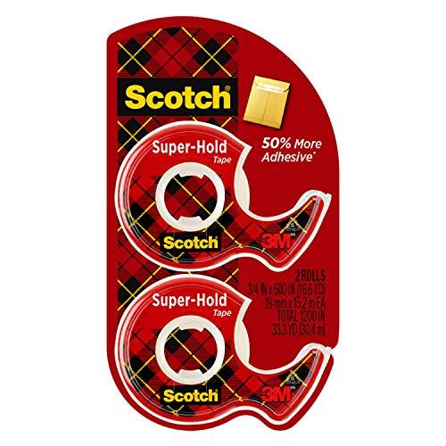 스카치 슈퍼 홀드 테이프 2 롤 투명 마감 50%더 많은 접착제 신뢰할 수있는 즐겨 찾기 3 | 4X600 인치 디스펜서(198DM-2)