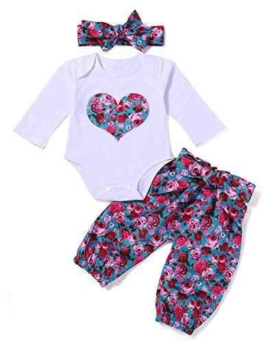 3Pcs Newborn Baby Girls Floral Heart Peach Print Romper Top and Flower Long Pants Bowknot Headband Outfits (Label 90/Age 12-18M) (Peach Label)