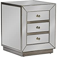 Baxton Studio Currin Contemporary Mirrored 3-Drawer Nightstand, Large