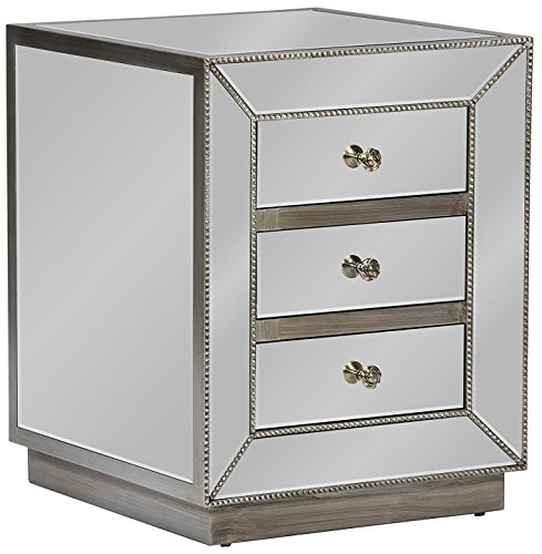 Baxton Studio Currin Contemporary Mirrored 3-Drawer Nightstand, Large (Glam Silver Mirrored Nightstand By Baxton Studio)