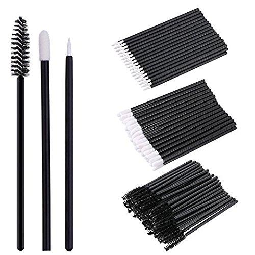 150 Pieces Disposable Lip Brushes Eyeliner Brushes Eyelash Mascara Brushes Makeup Tool Kits (Black) Erlvery DaMain