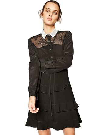 1b8375d842a560 Kooples White Lace Collar Button Fron A-Line Ruffle Silk Black Dress ...