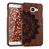 kwmobile Natural wood case with Design half-flower for the Samsung Galaxy A5 (2016) in rosewood dark brown
