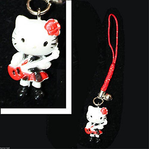 HORROR-HALL Mini Figure-Hello Kitty Cell Phone Strap-Rocker Guitar-Stocking Stuffer -