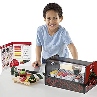 Melissa & Doug  Roll, Wrap & Slice Sushi Counter Toy: Toys & Games