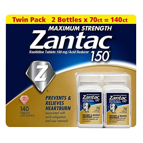 - Zantac 150 Maximum Strength 140 Tablets - Twin Pack - 2 Bottles x 70ct = 140ct