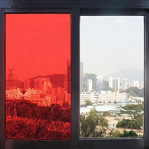 HOHO Decoration Window Glass Film Privacy Heat Control Red Transparent Sticker 40''x98ft by HOHO