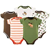 Luvable Friends Baby Infant 5 Pack Bodysuits, Green Moose, 12-18 Months