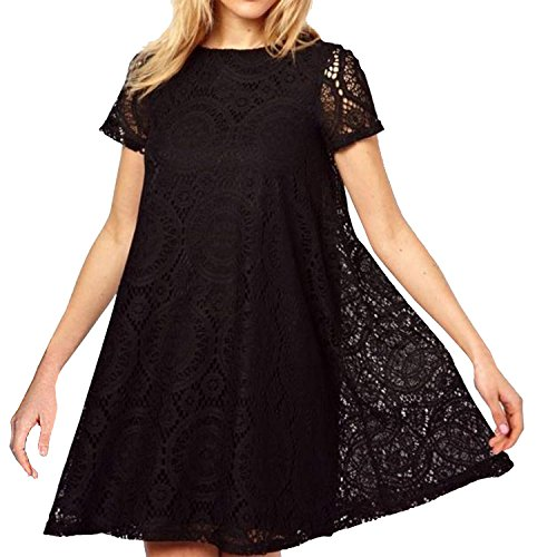 semen Damen Spitze Kleid Lace Dress Kurz Arm Rundhals Lolita ...