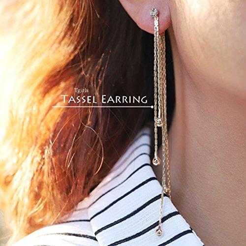 Tgirls Irregular Ear Thread Earrings Jewelry Accessory With Women and Girls EH-57 (Gold Costume Jewelry Earrings)
