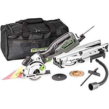"""Genesis GPCS535CK 5.8 Amp, 3-1/2"""" Control Grip Plunge Compact Circular Saw Kit with Laser,  Miter Base, 3 assorted blades, Vacuum Adapter Hose, Rip Guide and Carrying bag"""