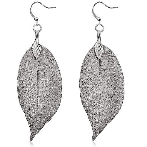 Gleamart Delicate Filigree Leaf Drop Earrings Lightweight Metal-plated Leaves Ear Studs Long Dangle Earrings Black ()