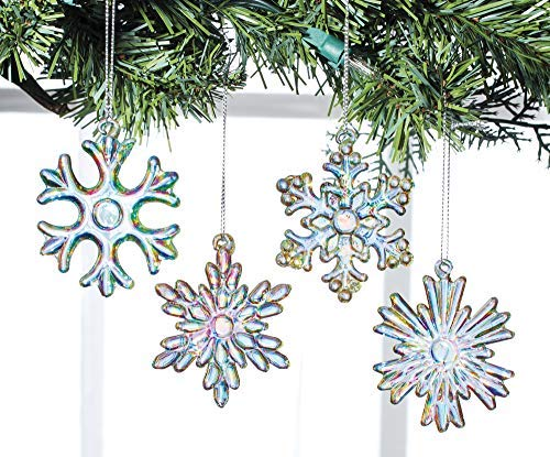 Glass Snowflake Ornaments, Set of 4 - Faceted Christmas Tree Ornaments or Suncatchers