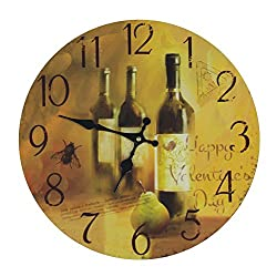 Antique Rustic Retro 13 Wine Motif Themed Classic Art Round Analog Wall Clock