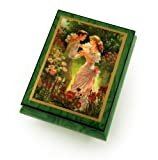 Alluring Forest Green Ercolano Music Jewelry Box - ''Summer's Meeting'' by Brenda Burke - Three Coins in the Fountain