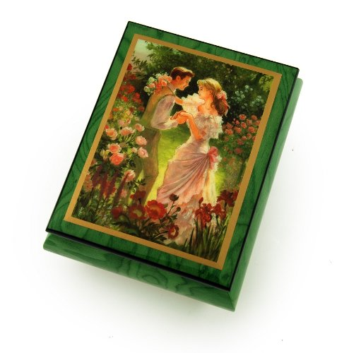 Alluring Forest Green Ercolano Music Jewelry Box - ''Summer's Meeting'' by Brenda Burke - Three Coins in the Fountain by MusicBoxAttic