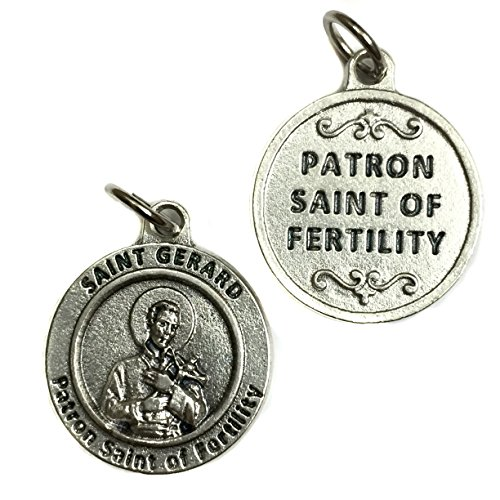 Saint St Gerard Patron of Fertility Birth Difficulties Silver Tone Italian Medal Pendant Charm Catholic Made in Italy 3/4 Inch