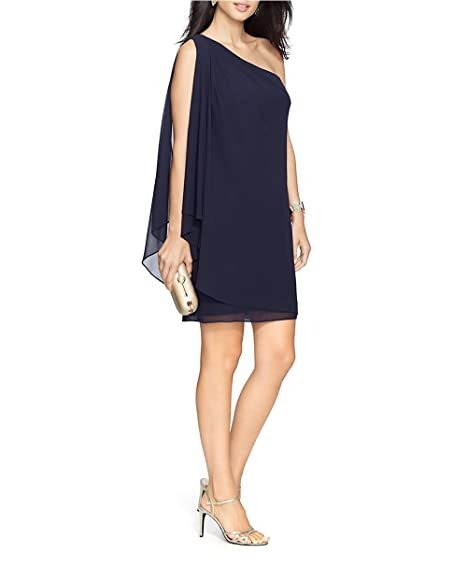 Lauren Ralph Lauren Draped Georgette One Shoulder Dress Lighthouse Navy  Blue Size 6